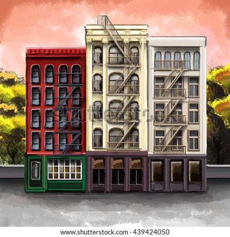 Illustration Apartment Buildings Spaces Cafe Shop Stock