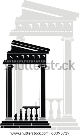 Illustration of architectural element - Ruins of Portico (Colonnade), an ancient temple: black, grey, isolated, white background - stock photo