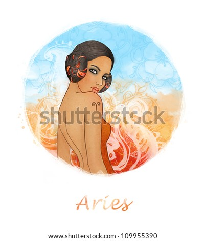 Illustration of aries zodiac sign as a beautiful girl - stock photo