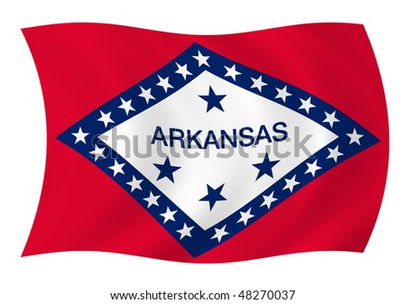 Illustration of Arkansas state flag waving in the wind