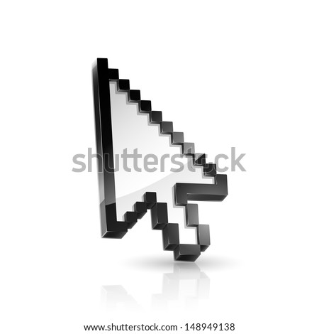 Illustration of arrow cursor on white background - stock photo