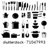 illustration of assorted kitchen utensil silhouettes - stock photo