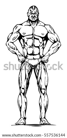 illustration of athletic man full length in ink hand drawn style.
