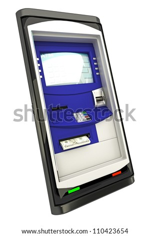 illustration of ATM machine panel on mobile phone screen - stock photo
