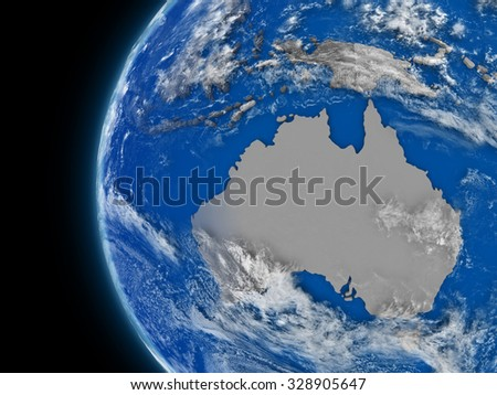 Illustration of Australian continent on political globe with atmospheric features and clouds
