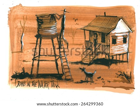 Illustration Of Australian Outback House And Water Tank With Farmer Crows In Drought Landscape
