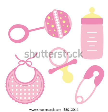 Illustration of baby girl accessories