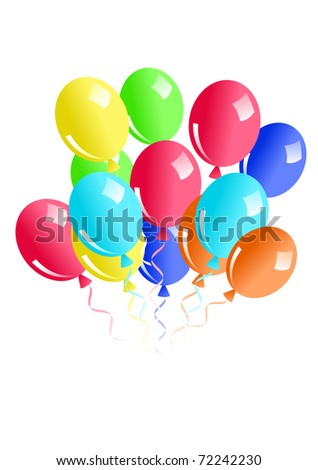 Illustration of balloons isolated on white. Raster version. Vector version is in my gallery. - stock photo