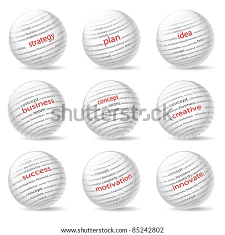 Illustration of balls on the business theme, on white background. - stock photo