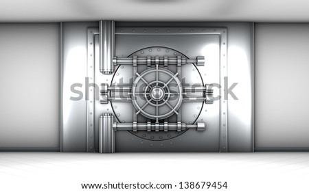 illustration of bank vault door, front view - stock photo
