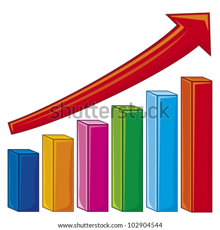 illustration of bar graph (increase diagram, graph showing rise in profits or earnings) - stock photo