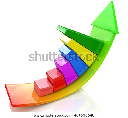 illustration of bar graph with rising arrow.3D Illustration - stock photo