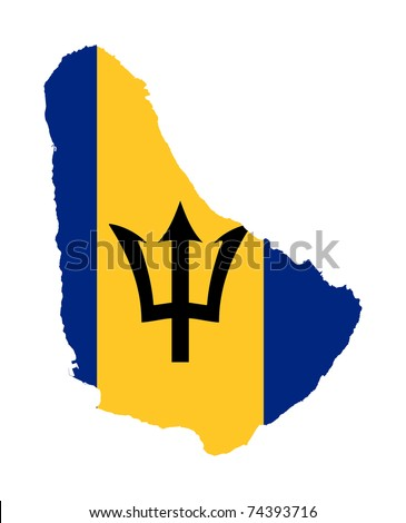 Illustration of Barbados flag on map of country; isolated on white background. - stock photo