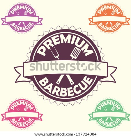 illustration of barbecue label, stamp logo design element with text flame premium barbecue.