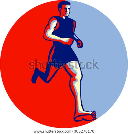 Illustration of barefoot marathon triathlete runner running otherwise known as natural running without footwear facing front viewed from low angle inside circle done in retro style. - stock photo