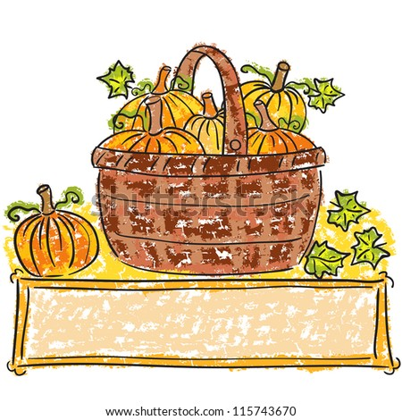 Illustration of basket with pumpkins - harvest time - stock photo