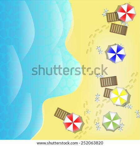 Illustration of beach from above with sea, parasols and beds - stock photo