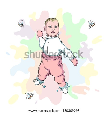 Illustration of beautiful Baby with flying bees (see eps version in my portfolio)