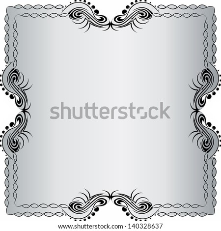 Illustration of beautiful black frame on silver background