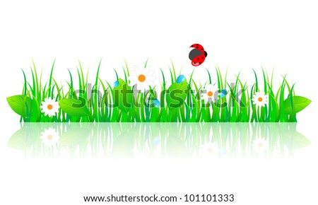 Illustration of beautiful green spring grass with leaves, daisies, and ladybug