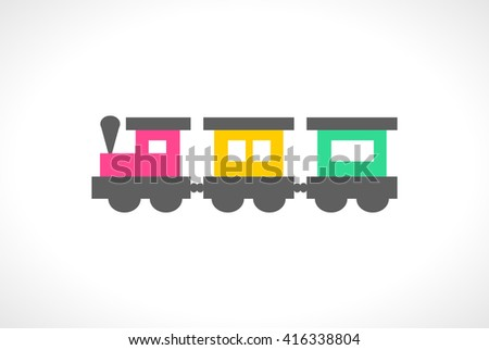 Illustration of beautiful multi colored toy train. Cute toddler locomotive. Cartoon transport carriage. Vehicle elements. Railroad for lovely children. Transportation icon. Happy childhood.  - stock photo