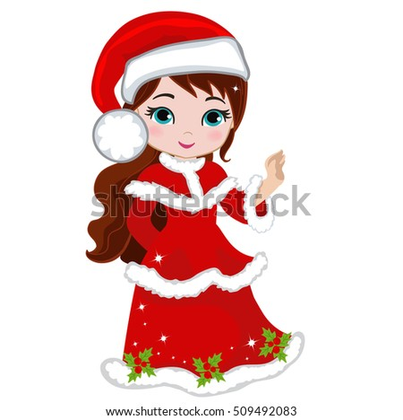 Illustration of beautiful winter christmas princess. Raster copy.