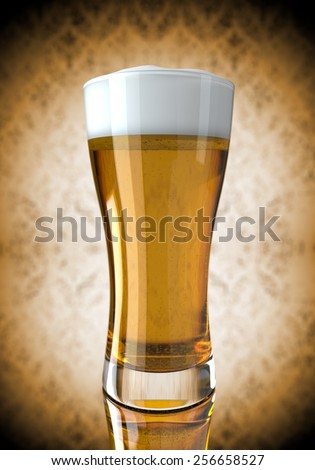 Illustration of Beer in a glass on a mirror surface