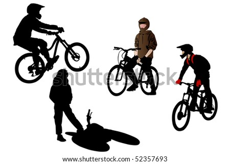 illustration of bicyclists under the white background