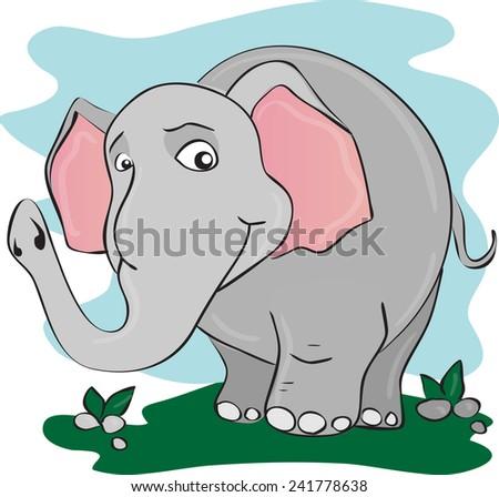 Illustration of big funny elephant - stock photo