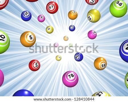 Illustration of Bingo balls over a blue starburst background - stock photo
