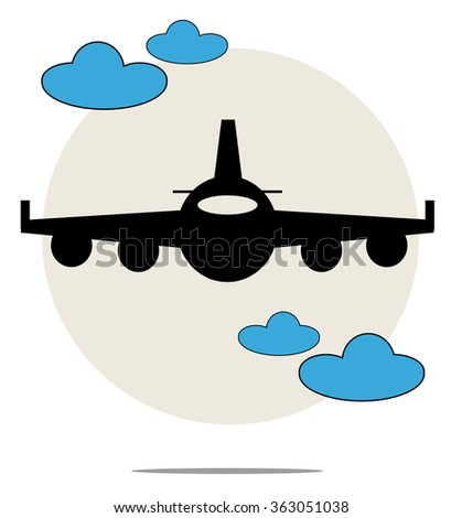 Illustration of black airplane with blue clouds - stock photo