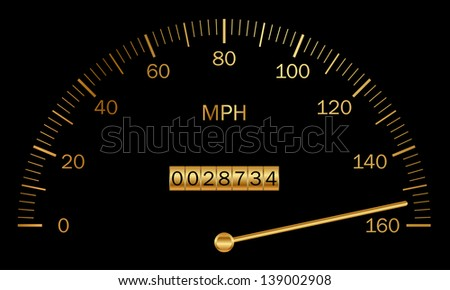 Illustration of black and gold speedometer - stock photo