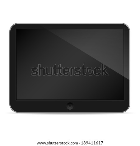 Illustration of black tablet pc same with ipade on white