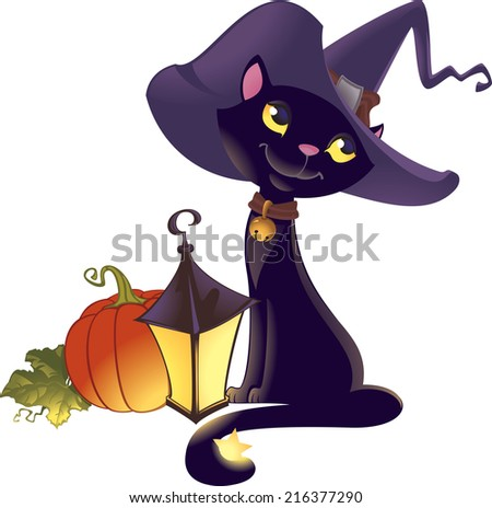 Illustration of black witch's cat, pumpkin and lantern. - stock photo