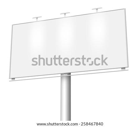Illustration of Blank billboard isolated on white background - stock photo
