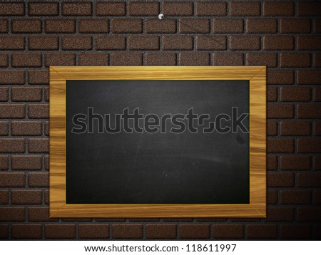 Illustration of blank chalkboard hanging on brick wall.