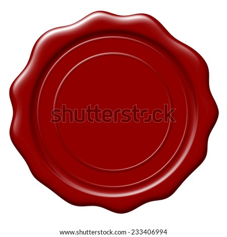 Illustration of blank wax seal on white background - stock photo
