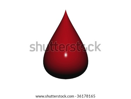 illustration of blood drop, isolated on white