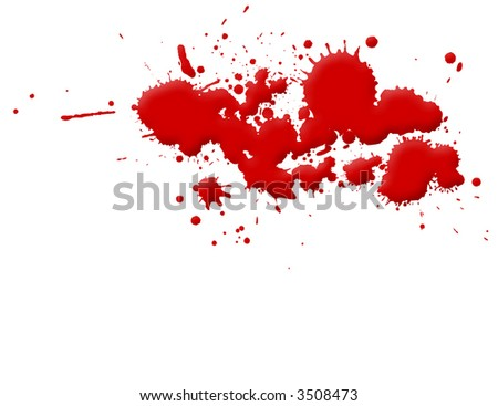 Illustration of blood splashes and stains over white background. - stock photo