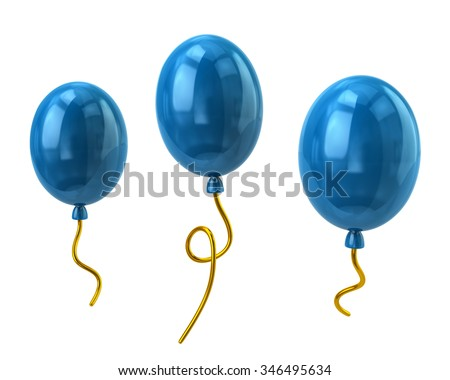 Illustration of blue balloons isolated on white - stock photo
