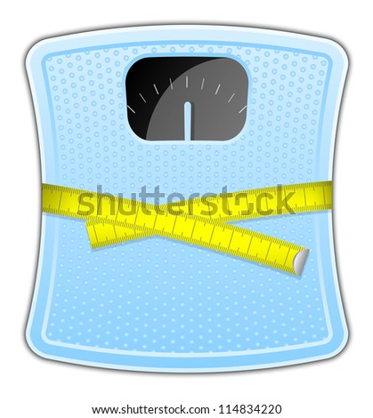 Illustration of blue bathroom scale with measuring tape - stock photo