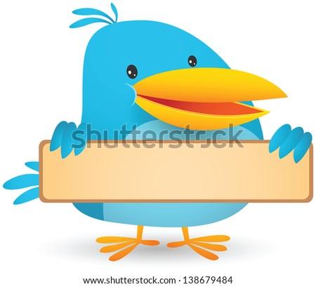 Illustration of Blue Bird holding blank banner - stock photo