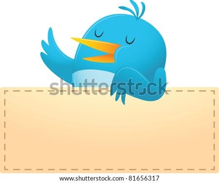 Illustration of Blue Bird with blank banner - stock photo