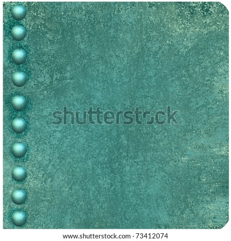 illustration of blue book cover, old antique blue background color, grunge texture, button or pearl accents on edge of binding, rounded corners, and copy space to add title, text, image, or ad - stock photo