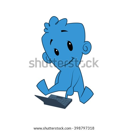 Illustration of blue cartoon character with a laptop - stock photo