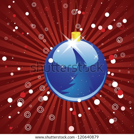 Illustration of blue Christmas ball on abstract red background with rays.