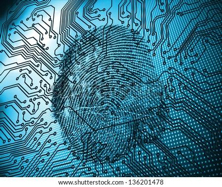 Illustration of blue fingerprint against circuit board - stock photo