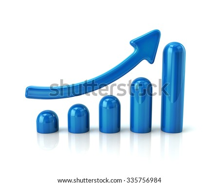 Illustration of blue growing graph on white background - stock photo