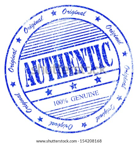 Illustration of blue grunge rubber stamp with the word authentic 100% original and genuine - stock photo