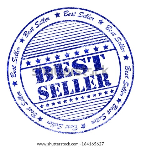 Illustration of blue grunge rubber stamp with the word best seller